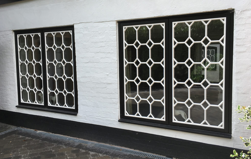 Windows with chequered decor