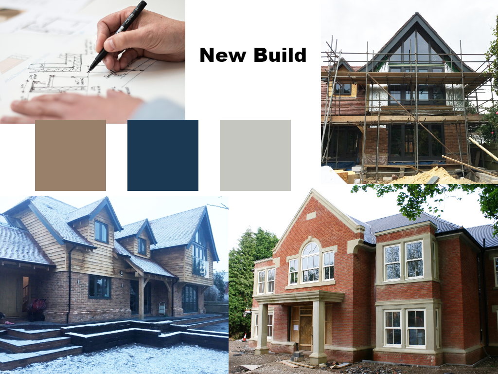compilation of various shots of new build house