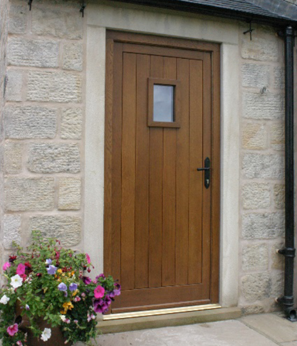 Wooden door with small square window